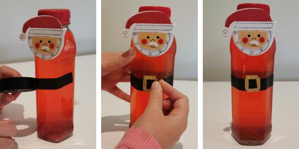 Preparando una botella de la calma de Santa Claus